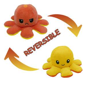 Cute Flip-Mood Octopus Plush Toy-Flip Mood Octopus Plush Toy-Yellow Orange-10x20cm-COOL FUN TECH