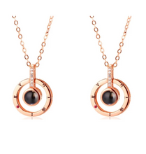 Load image into Gallery viewer, I Love you in 100 Languages Necklaces and Rings-necklace & ring set-Rose Gold round necklace 2 Pcs-COOL FUN TECH