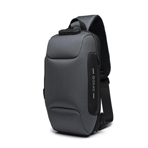 Multifunctional Anti-Theft Waterproof Shoulder Bag Chest Bag with USB Port-Anti-theft Multi-purpose Backpack-Dark gray-COOL FUN TECH