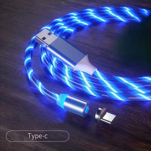 Magnetic iPhone Android USB Fast Charging Cable with LED Strip lights-USB Cable-Blue-Type c-COOL FUN TECH