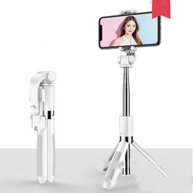 Selfie Stick Tripod for iPhone Android Phone with Bluetooth Remote-Tripod Selfie Stick-White-L01S-COOL FUN TECH