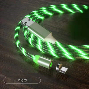 Magnetic iPhone Android USB Fast Charging Cable with LED Strip lights-USB Cable-Green-Micro USB-COOL FUN TECH
