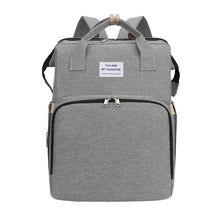 Load image into Gallery viewer, Multi-purpose Mommy Diapers Backpack with Portable Folding Baby Bed Crib-Portable Bed Diapers Backpack-Grey-COOL FUN TECH