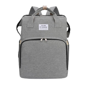 Multi-purpose Mommy Diapers Backpack with Portable Folding Baby Bed Crib-Portable Bed Diapers Backpack-Grey-COOL FUN TECH