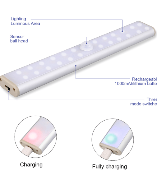 Portable Rechargeable Magnetic Motion Sensor LED Light-LED lighting-24beads-Warm white-COOL FUN TECH