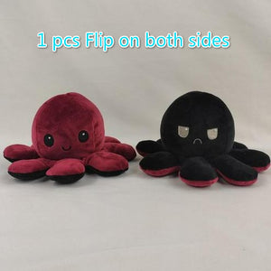 Cute Flip-Mood Octopus Plush Toy-Flip Mood Octopus Plush Toy-Red black-10x20cm-COOL FUN TECH