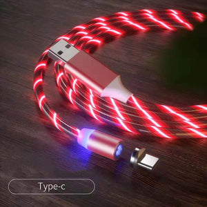 Magnetic iPhone Android USB Fast Charging Cable with LED Strip lights-USB Cable-Red-Type c-COOL FUN TECH