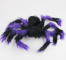 Load image into Gallery viewer, Halloween Decoration Giant Spider Plush Toy & Spider Web-Halloween Spider Decorations-Purple spider-75cm-COOL FUN TECH