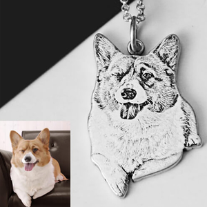 Custom Silver Pet Engraved Necklace-Custom 3D Pet Necklace-45mm-COOL FUN TECH