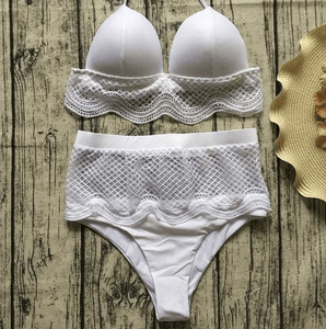 2020 Two piece swimsuits high low waisted lace bikini set-Two piece swimsuits-White high waist-S-COOL FUN TECH