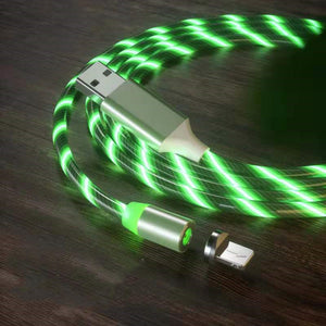 Magnetic iPhone Android USB Fast Charging Cable with LED Strip lights-USB Cable-Green-IPhone-COOL FUN TECH