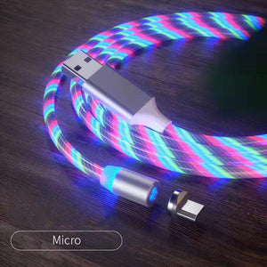 Magnetic iPhone Android USB Fast Charging Cable with LED Strip lights-USB Cable-Colorful-Micro USB-COOL FUN TECH