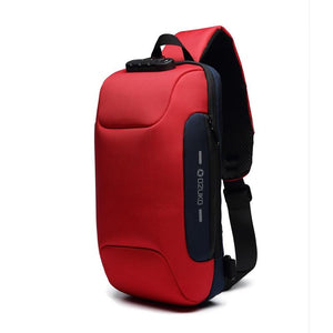 Multifunctional Anti-Theft Waterproof Shoulder Bag Chest Bag with USB Port-Anti-theft Multi-purpose Backpack-Red-COOL FUN TECH