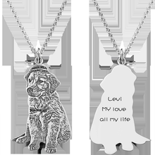 Load image into Gallery viewer, Custom Silver Pet Engraved Necklace-Custom 3D Pet Necklace-Sterling silver keychain-COOL FUN TECH