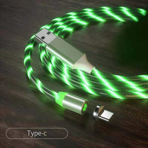 Magnetic iPhone Android USB Fast Charging Cable with LED Strip lights-USB Cable-Green-Type c-COOL FUN TECH