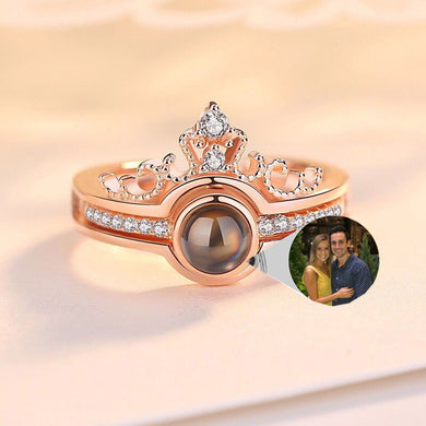 S925 Projection Personalized Photo Ring-Customizable Projection Photo Ring-Rose Gold-COOL FUN TECH