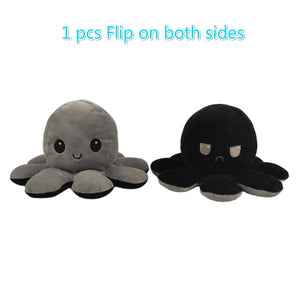 Cute Flip-Mood Octopus Plush Toy-Flip Mood Octopus Plush Toy-Grey black-10x20cm-COOL FUN TECH