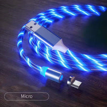 Load image into Gallery viewer, Magnetic iPhone Android USB Fast Charging Cable with LED Strip lights-USB Cable-Blue-Micro USB-COOL FUN TECH