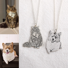 Load image into Gallery viewer, Custom Silver Pet Engraved Necklace-Custom 3D Pet Necklace-35mm-COOL FUN TECH