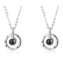 Load image into Gallery viewer, I Love you in 100 Languages Necklaces and Rings-necklace & ring set-Silver necklace 2 Pcs-COOL FUN TECH