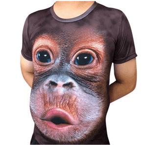 Cool Unisex 3D Monkey Face T-shirt-T-shirt-Dark Pruple-M-COOL FUN TECH