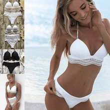Load image into Gallery viewer, 2020 Two piece swimsuits high low waisted lace bikini set-Two piece swimsuits-White low waist-M-COOL FUN TECH