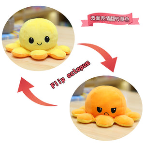 Cute Flip-Mood Octopus Plush Toy-Flip Mood Octopus Plush Toy-Yellow orange-40cm-COOL FUN TECH