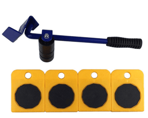 Portable Heavy Furniture Mover Tool Large Object Transport System with 1 Lifter and 4 wheeled sliders-Heavy Furniture Lifting System-Yellow blue-COOL FUN TECH