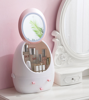 Portable Makeup Storage Box with LED Lit Mirror-Makeup Storage Box-No LED light-35x28x18-COOL FUN TECH