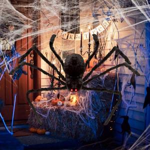 Halloween Decoration Giant Spider Plush Toy & Spider Web-Halloween Spider Decorations-Purple spider-75cm-COOL FUN TECH