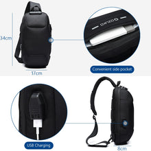 Load image into Gallery viewer, Multifunctional Anti-Theft Waterproof Shoulder Bag Chest Bag with USB Port-Anti-theft Multi-purpose Backpack-Dark blue-COOL FUN TECH