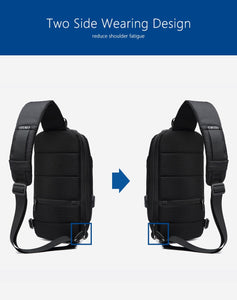 Multifunctional Anti-Theft Waterproof Shoulder Bag Chest Bag with USB Port-Anti-theft Multi-purpose Backpack-Dark blue-COOL FUN TECH