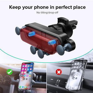 UNIVERSAL GRAVITY CAR PHONE HOLDER-Universal Car Phone Holder Aircond Grille Mounted-Blue For Round AC Grille-COOL FUN TECH