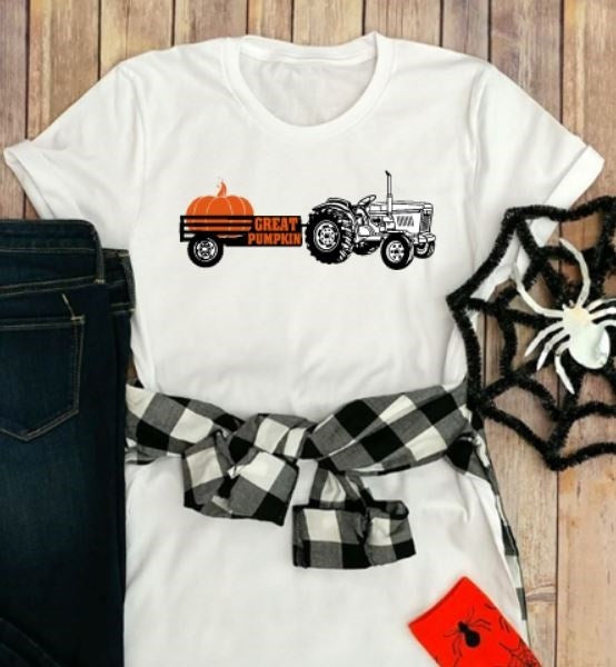 Great Pumpkin Tractor Halloween Farm T-Shirt