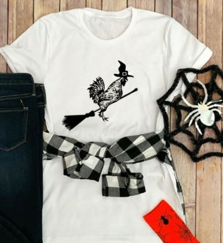 Chicken Witch Halloween Farm T-Shirt