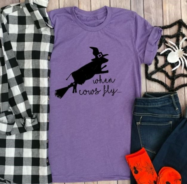 When Cows Fly Halloween Farm T-Shirt