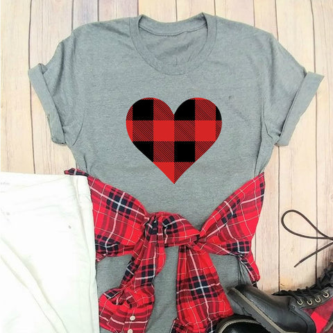 Buffalo Plaid Love Graphic Tee