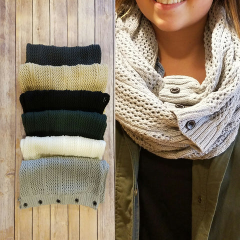 Oversized Button Knit Infinity Scarf