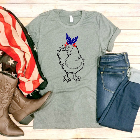 Patriotic Chicken With a Bandanna! 4th of July Tee
