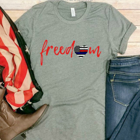 Freedom (flag heart)! 4th of July Tee