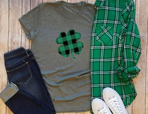 Green and Black Shamrock Buffalo Plaid  Graphic Tee