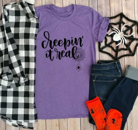 Creepin' it Real, Fall, Halloween, Autumn, Holiday T shirts