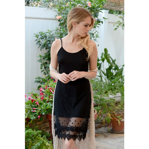 WHOLESALE Venetian polkadot Lace Dress Extender | Black 6pak