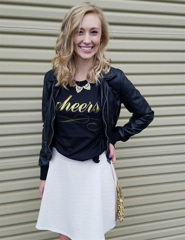 Celebrate with our Gold Glitter CHEERS T-Shirt