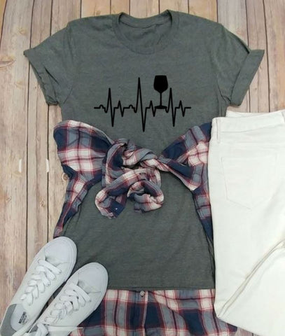 Wine Love Heart Beat Tees