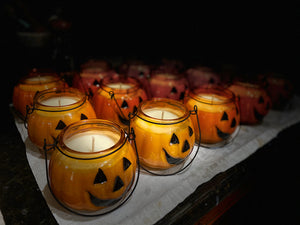 11oz Glass Pumpkin Lantern, Natural Soy Wax Candle