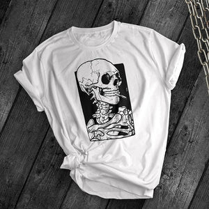 Smoking Skull Tee - Dark Tees