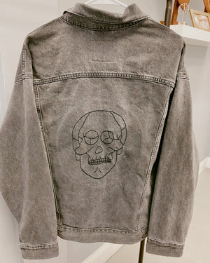 Hand-Embroidered Skull Levi's Denim Jacket
