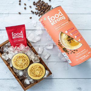 foodstrong daily protein cold coffee made with antibiotic free grassfed whey pack and sachets