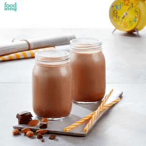 foodstrong daily protein real almond chocolate shake made with antibiotic free grassfed whey